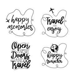 Travel adventure set calligraphy messsages font vector