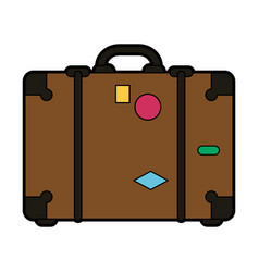 Travel suitcase with stickers icon image vector