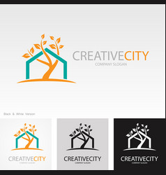 tree creative home logo vector image