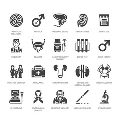 Urology flat glyph icons urologist vector