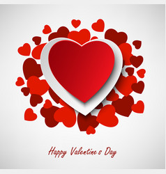 Valentine greeting card with different red hearts vector