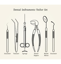 Vintage dentist tools Medical equipment in retro vector image