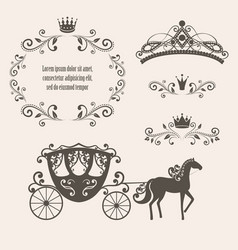 Vintage royalty frame with crown vector