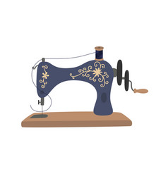 Vintage sewing machine with blue spool thread vector