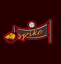 Volleyball net whistle and ball sticker for sport vector