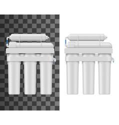 Water filter with membrane cartridge mockup vector