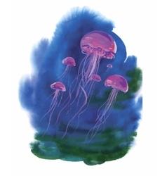 Watercolor Hand drawn jellyfish at Sea vector