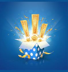 Win a prize giftbox open vector