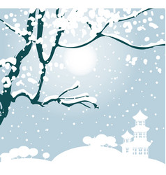 winter landscape with tree and chinese pagoda vector image