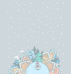 winter village landscape with a snowman vector image
