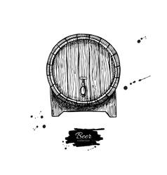 Wooden barrel Hand drawn vintage vector