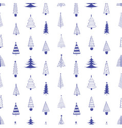 xmas trees hand drawn seamless pattern vector image