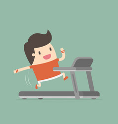 young man running on treadmill vector image