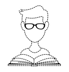 young man with book reading vector image