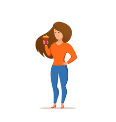 Young pretty woman holding coffee cup colorful vector
