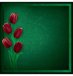abstract grunge green background with red tulips vector image vector image