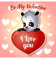 Cute panda for valentines day vector