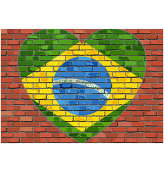 flag of the brazil in a heart on a brick wall vector image vector image