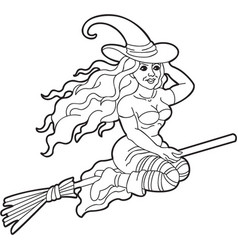 outline of cute witch with long curly hair f vector image