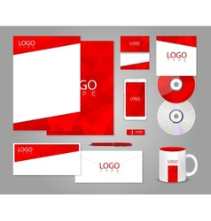 Red corporate identity template vector image vector image