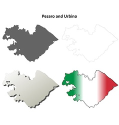 Pesaro and Urbino blank detailed outline map set vector image vector image