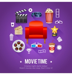 Realistic cinema movie poster template vector image