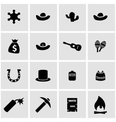 black wild west icon set vector image