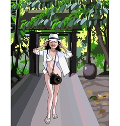 cartoon funny surprised woman tourist with a big vector image vector image