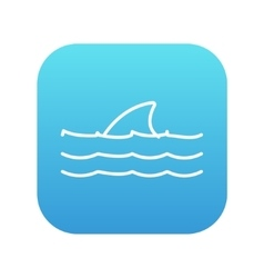 Dorsal shark fin above water line icon vector image