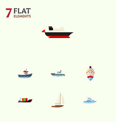 flat icon vessel set of sailboat tanker cargo vector image vector image