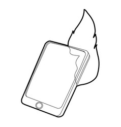 Gadget in fire icon outline style vector