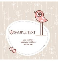 greeting card winh cute bird vector image