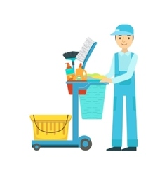 Man With Cart Filled With Special Equipment And vector image