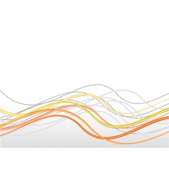 orange lines in wave with halftone vector image