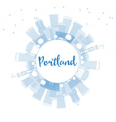 Outline portland skyline with blue buildings and vector