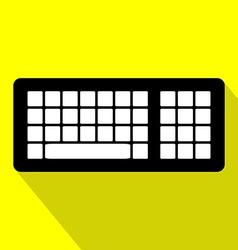 Computer Keyboard Flat Design Icon with Long vector image vector image