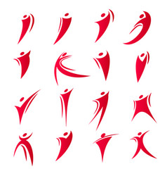 Isolated abstract red color people unity logos set vector