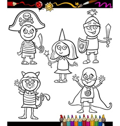 kids in costumes set coloring page vector image