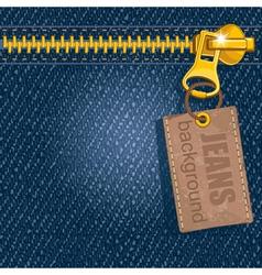Metal zipper on denim background vector image
