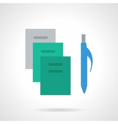 School supplies flat color icon Copybooks vector image vector image