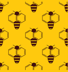 seamless pattern of bee logo on honey background vector image vector image
