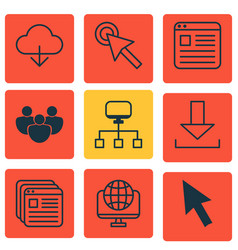 set of 9 internet icons includes save data vector image