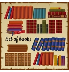 Set of books from the library vector image vector image