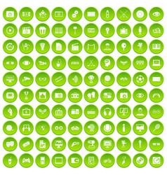 100 victory icons set green circle vector
