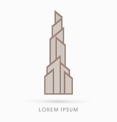 abstract building construction high tower graphic vector image