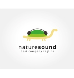 Abstract turtle with music logo icon concept vector image