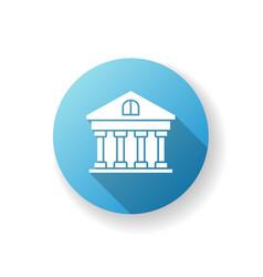 Bank blue flat design long shadow glyph icon vector