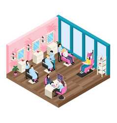 beauty salon isometric composition vector image