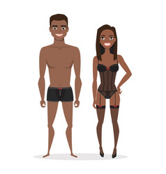 Black african american man and woman in lingerie vector
