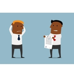 Black businessman tearing apart a contract vector